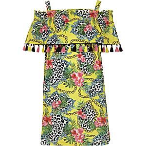 Gelbes Trapez-Kleid mit Print