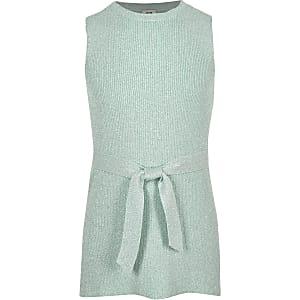 Groene metallic tuniektop met strikceintuur voor meisjes
