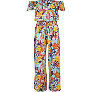 7b64d0ed18 Girls blue tropical print bardot jumpsuit