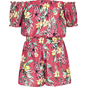 Girls pink tropical print playsuit