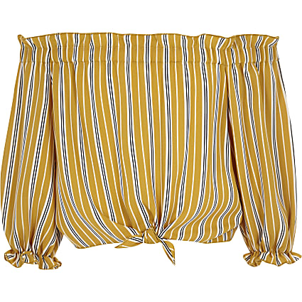 Girls yellow stripe bardot tie front top