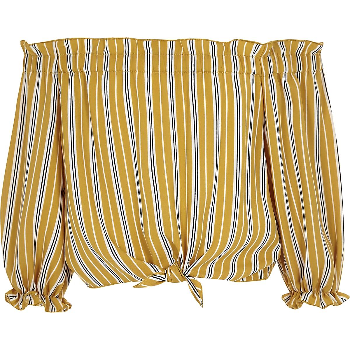 Gele gestreepte bardottop met strikceintuur voor meisjes
