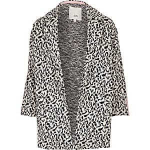 Girls grey leopard RI taped jersey jacket
