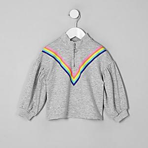 Sweat motif arc-en-ciel gris à col zippé pour fille