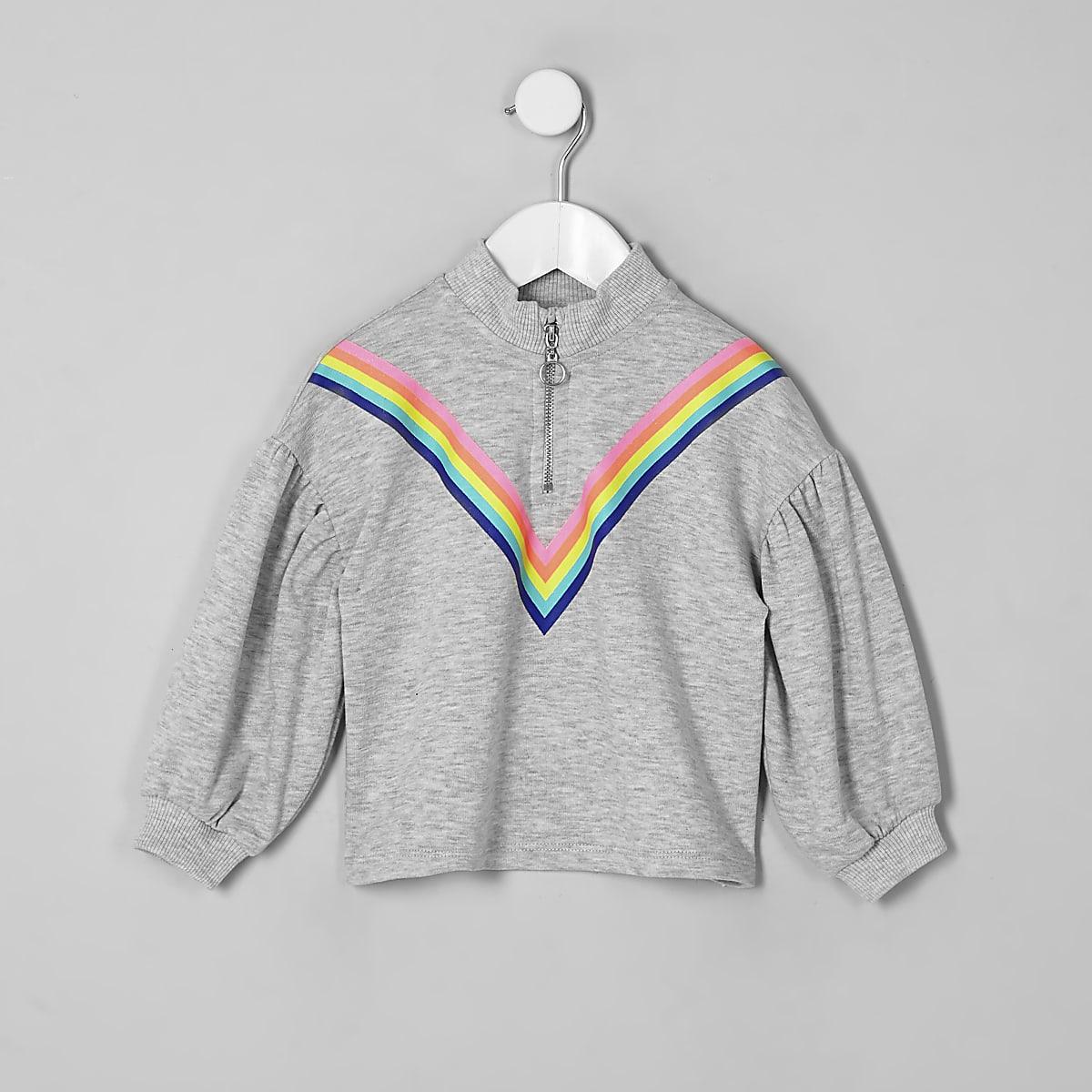Girls grey rainbow zip neck sweatshirt