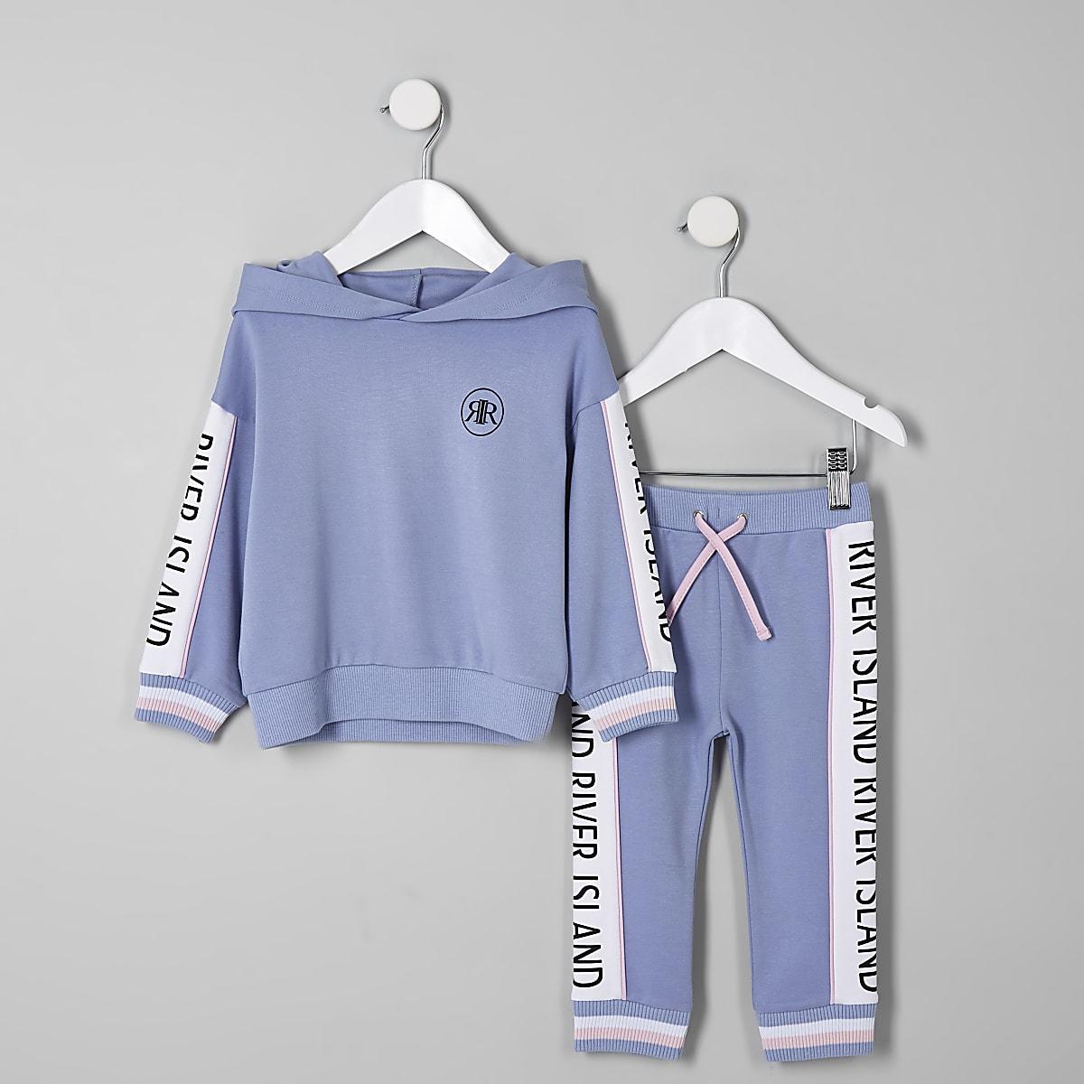 Mini girls blue RI hoodie outfit