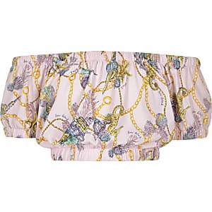 Girls pink shell print bardot crop top