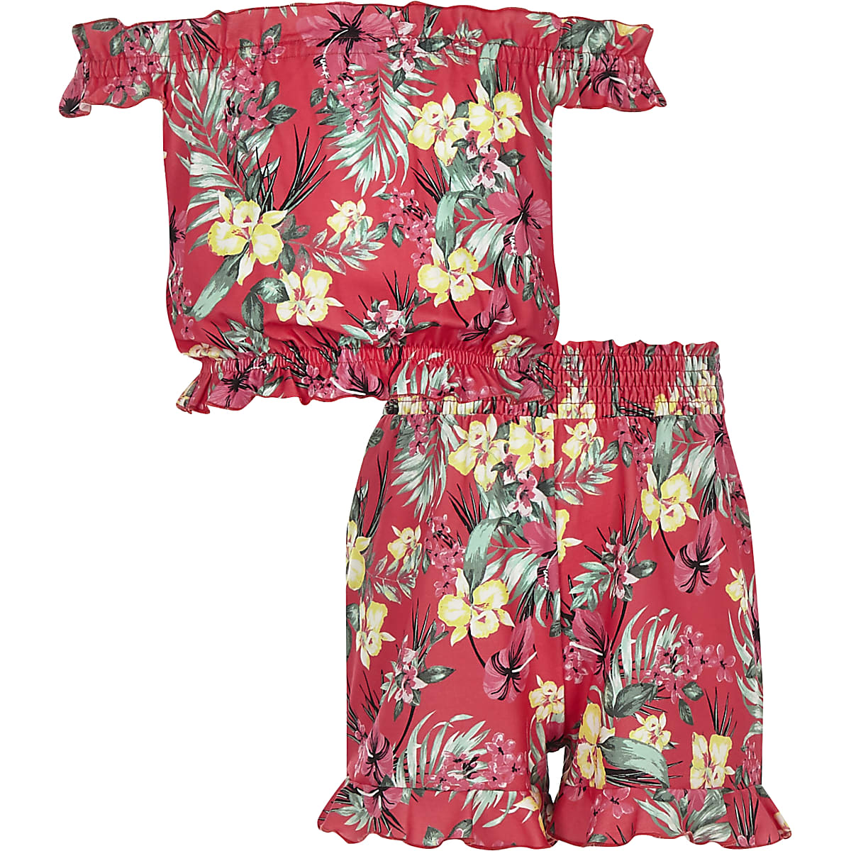 Girls pink floral print bardot top outfit