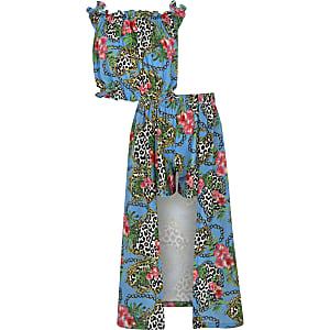 Ensemble avec jupe-short longue à imprimé chaîne bleue pour fille