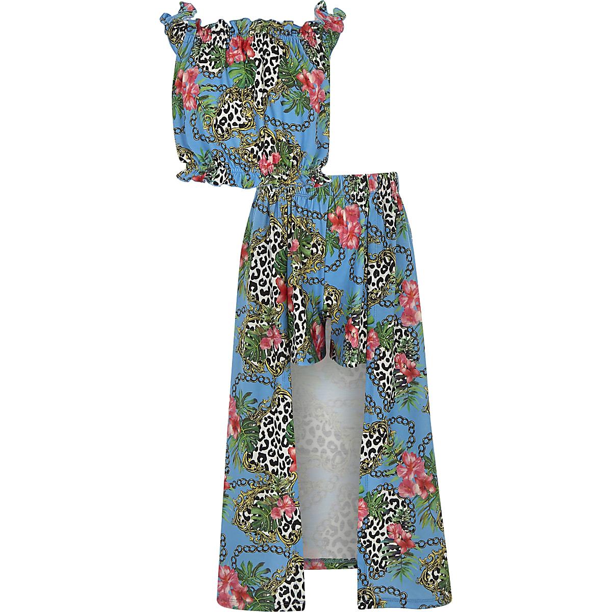 Girls blue chain print maxi skort outfit