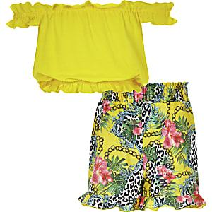 Girls yellow bardot frill top and shorts set