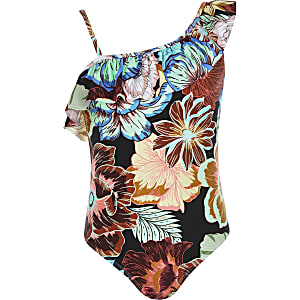 Girls floral one shoulder swimsuit