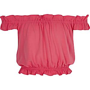 Girls coral ruffle bardot top