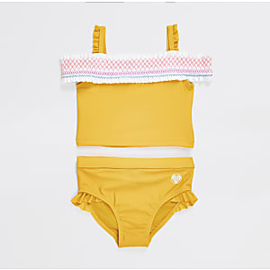 Mini girls yellow shirred bardot bikini set
