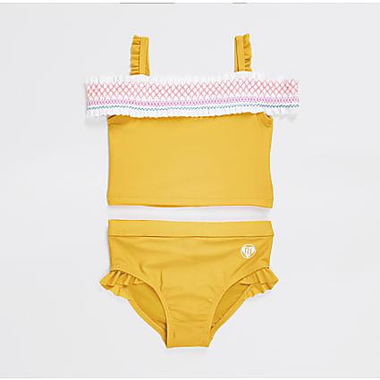 Mini girls yellow shirred bardot bikini set