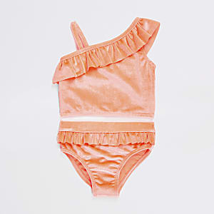 Mini girls coral one shoulder tankini set