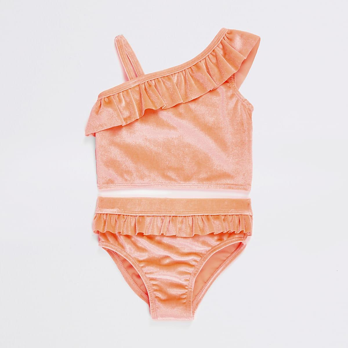 Mini - Koraalrode tankiniset met blote schouder voor meisjes