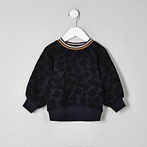Mini girls navy floral jacquard sweatshirt