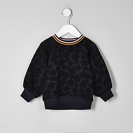 Mini girls navy floral jacquard sweatshirt