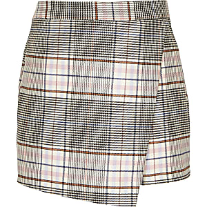 Girls pink check skort