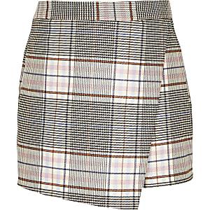Jupe-short à carreaux rose pour fille