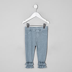 Mini girls blue flute jeggings