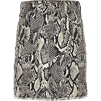 Girls grey snake print denim skirt