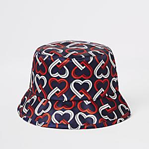 Mini - Marineblauw hoedje met hartenprint voor meisjes