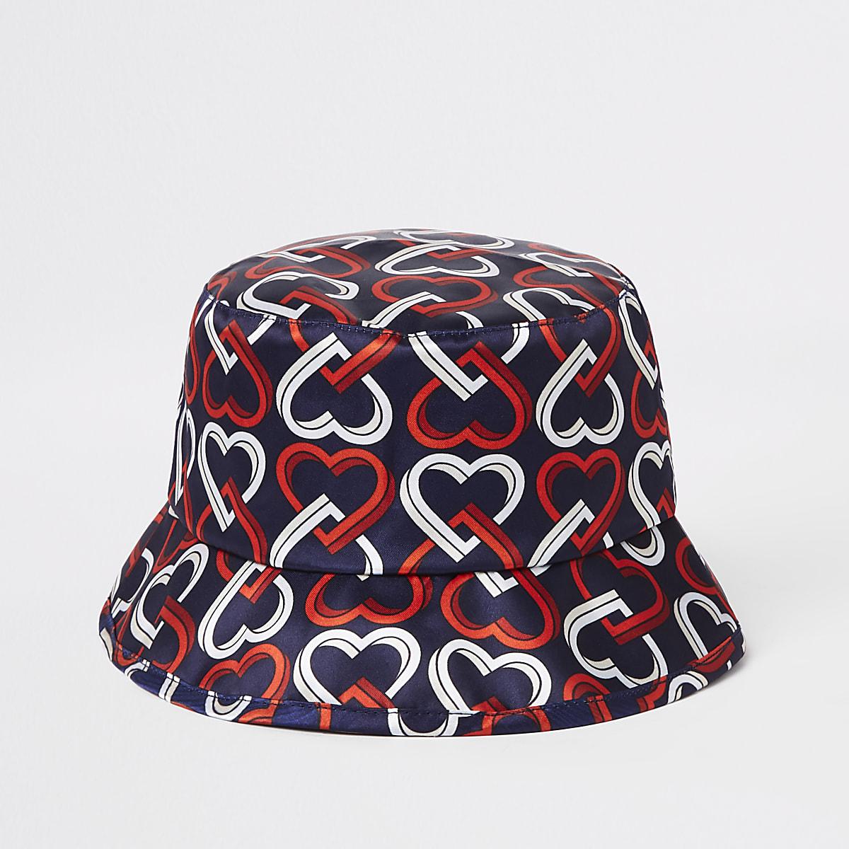 Marineblauwe bucket hat met hartjesprint voor mini-meisjes