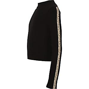 Girls black leopard rhinestone trim top
