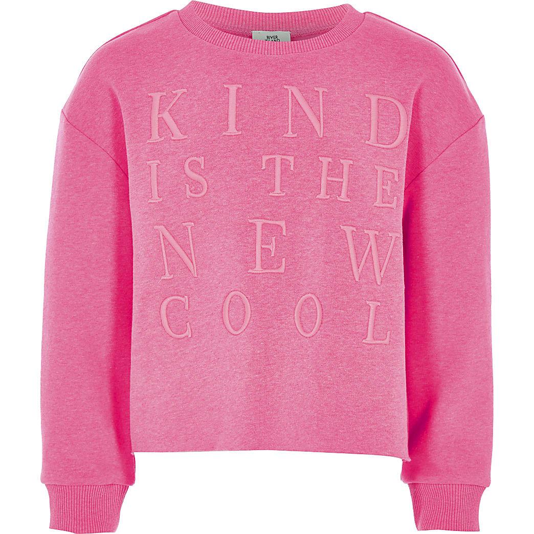 Girls pink 'Kind is the new cool' sweatshirt