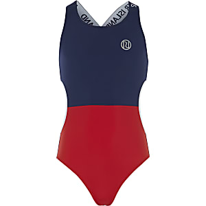 Girls navy colour block cut out swimsuit
