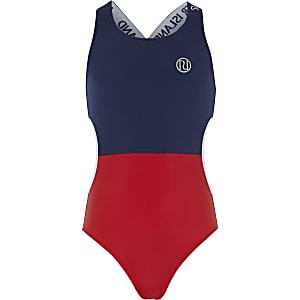Marineblauw zwempak met kleurvlakken en uitsnede voor meisjes