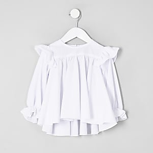 Mini girls white broderie frill top