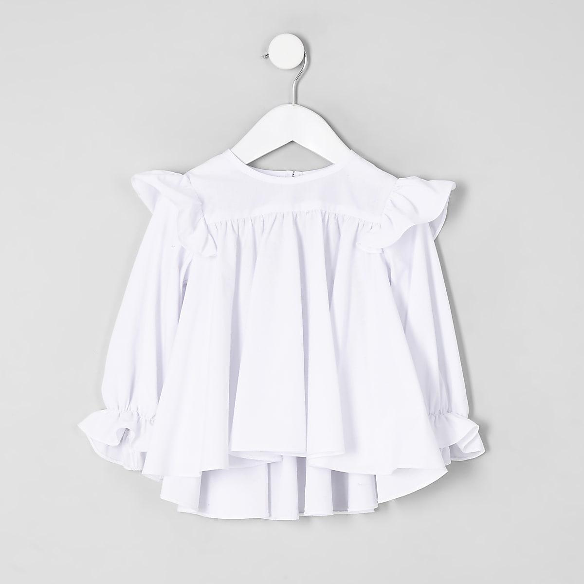 Mini girls white broderie frill top