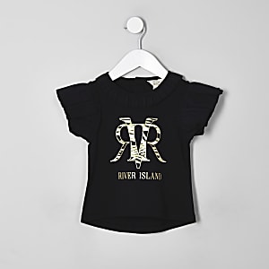 Mini girls black RI zebra print T-shirt