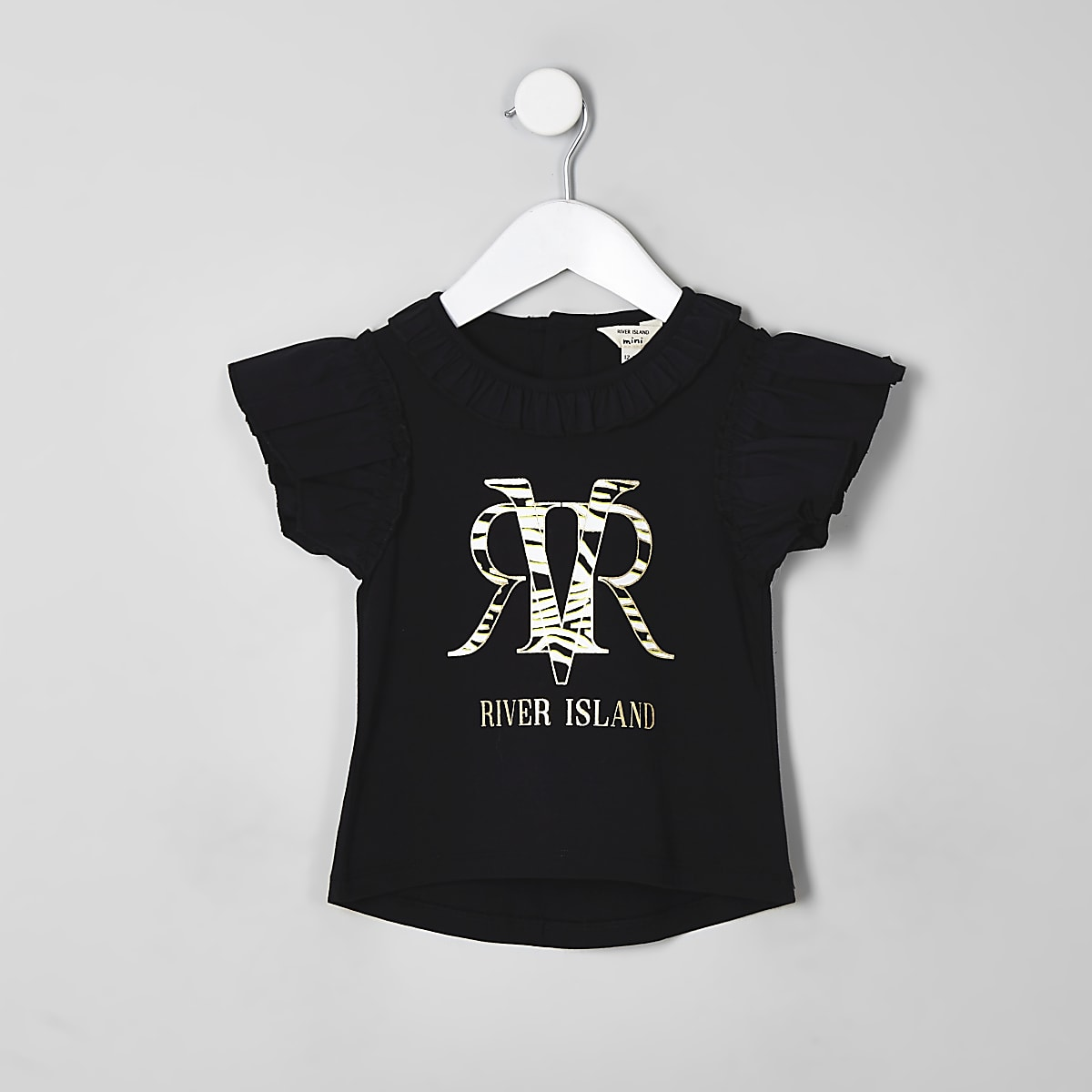 Mini girls black RI zebra print T-shirt