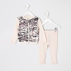Mini - Outfit met roze vest met dierenprint en rits voor meisjes