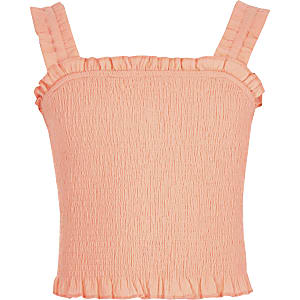Crop top corail froncé fille