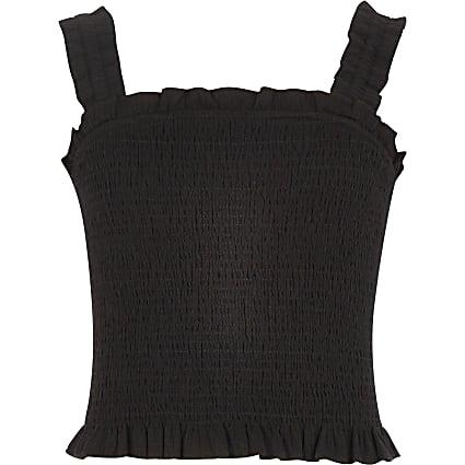 Girls black shirred crop top