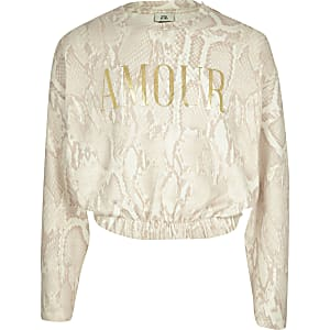 Girls cream snake 'Amour' cosy sweatshirt
