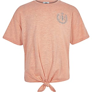 Girls coral RI tie front T-shirt