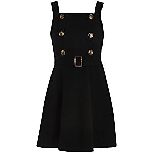 Schwarzes Skater-Kleid mit zwei Knöpfen