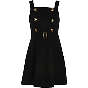 Girls black double button skater dress