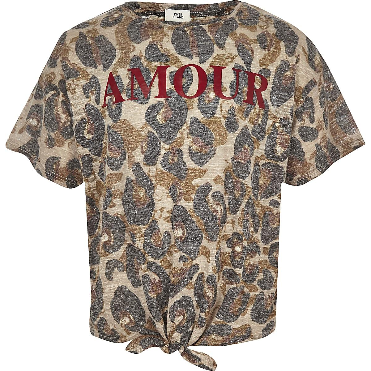 Bruine top met luipaardprint en strik voor meisjes