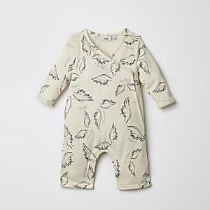 da05d87210848 Grenouillère rayée crème à capuche pour bébé - Grenouillères bébé ...