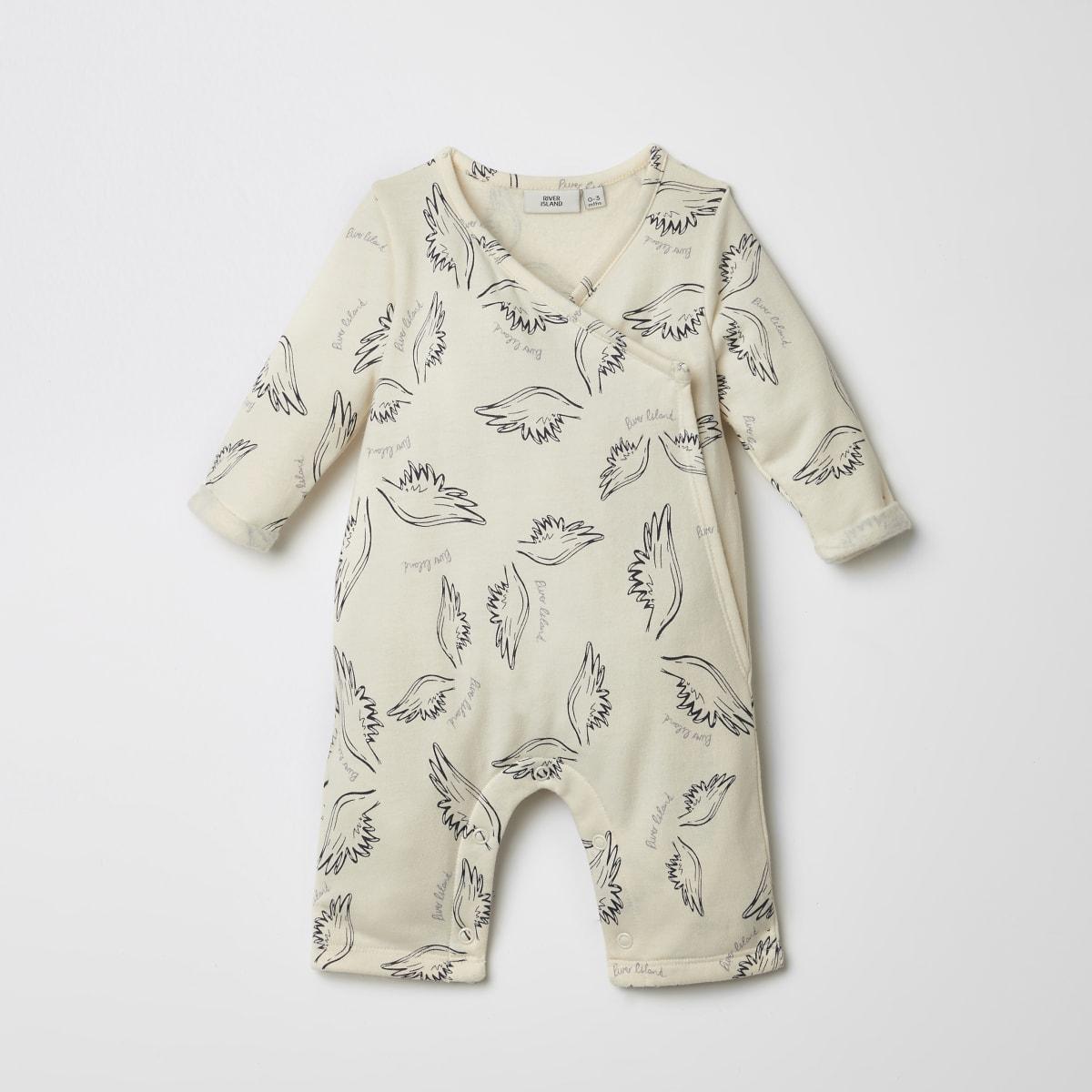 Baby cream wing kimono babygrow