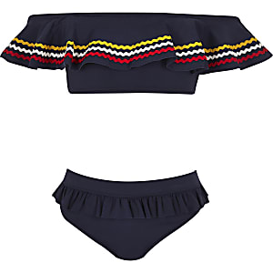 Girls navy stripe bardot bikini set