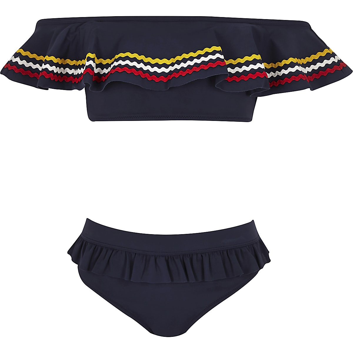 Girls navy stripe bardot bikini set