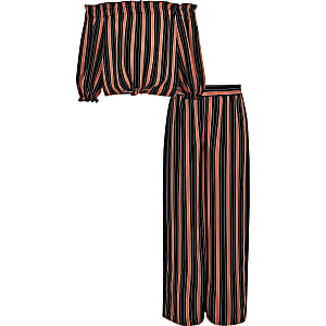 Girls red stripe bardot top outfit